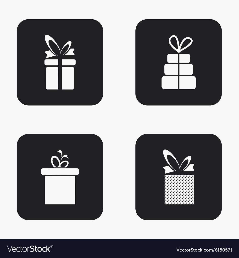 Modern gift icons set