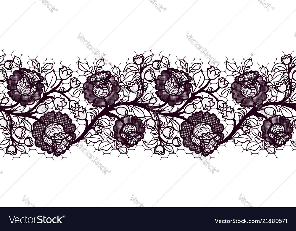Seamless lace ribbon with roses tracery of black