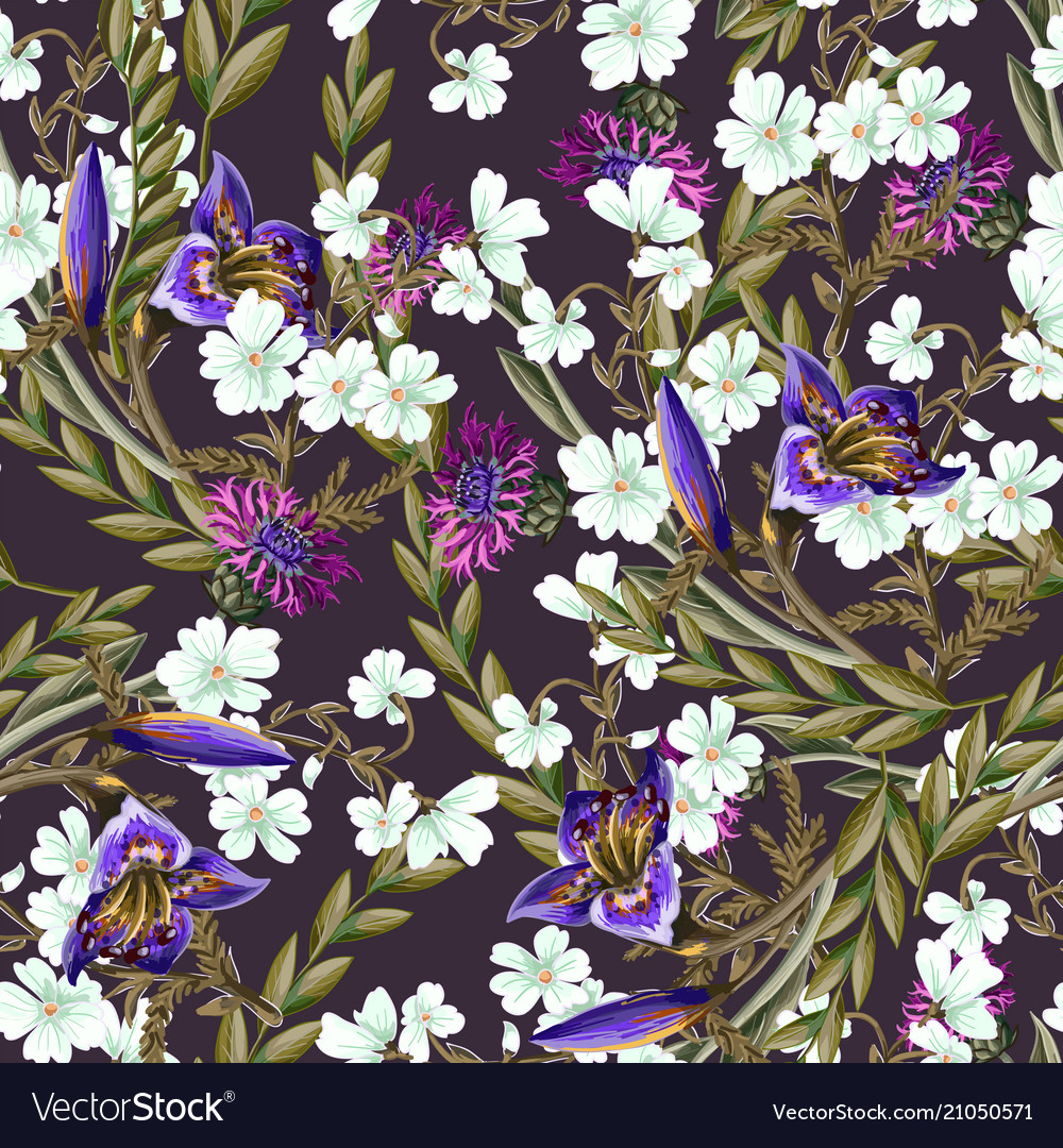 Seamless pattern with lilies and wild flowers