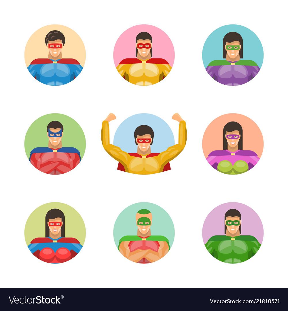 Super men avatars set