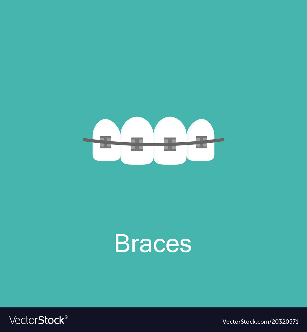 Tooth with braces icon vector image