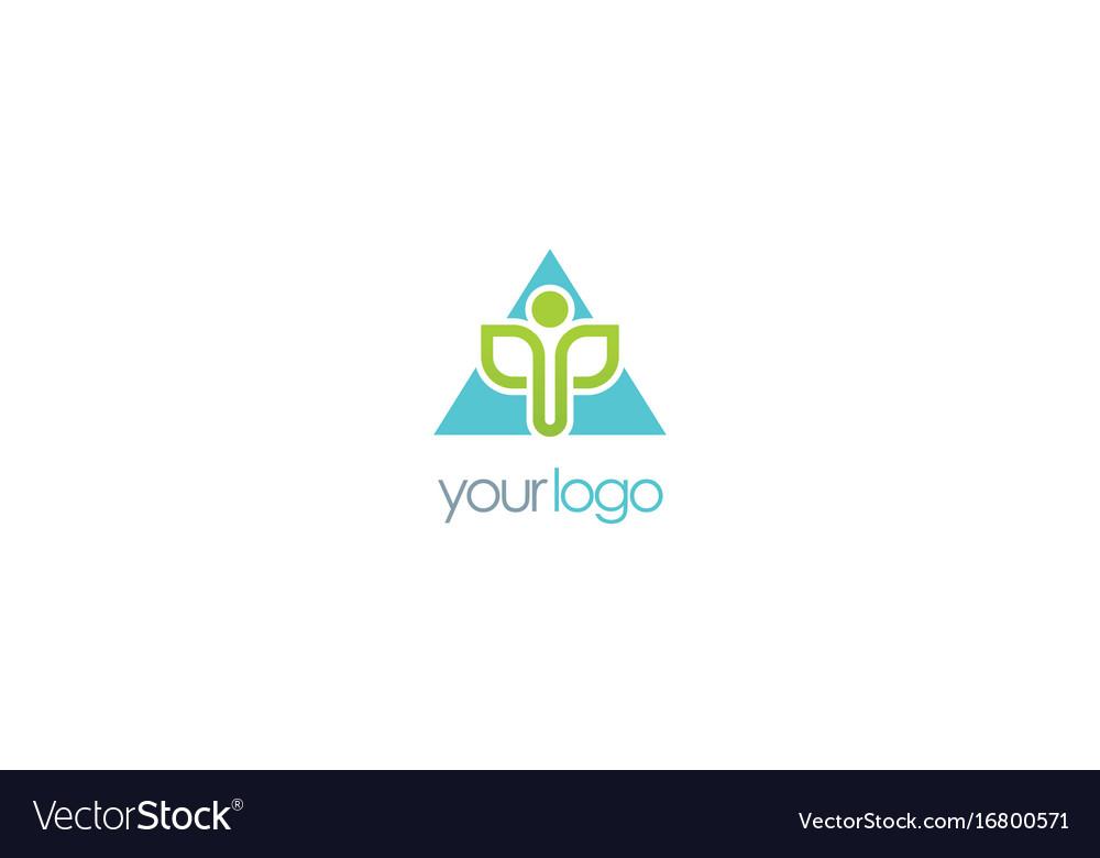 Triangle organic leaf logo vector image