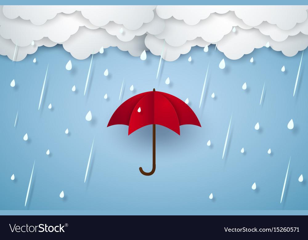 umbrella with heavy rain rainy season paper art vector image