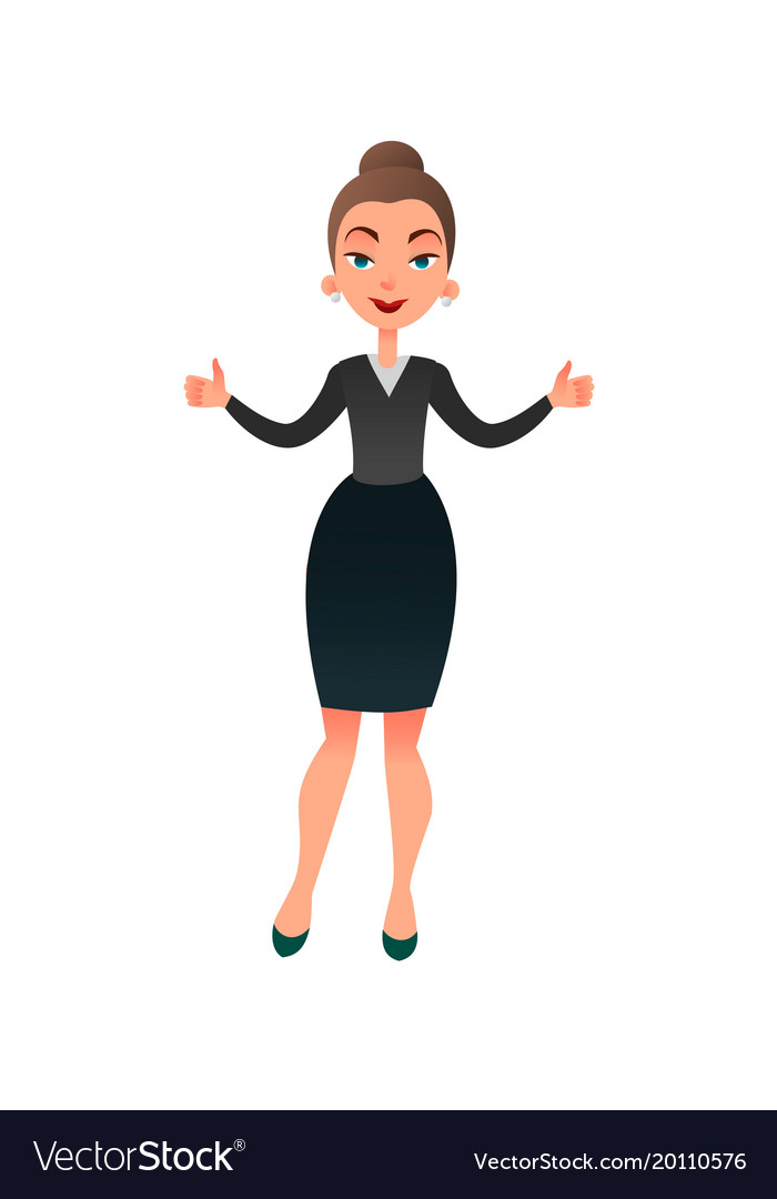 Cartoon flat business lady makes her thumbs up