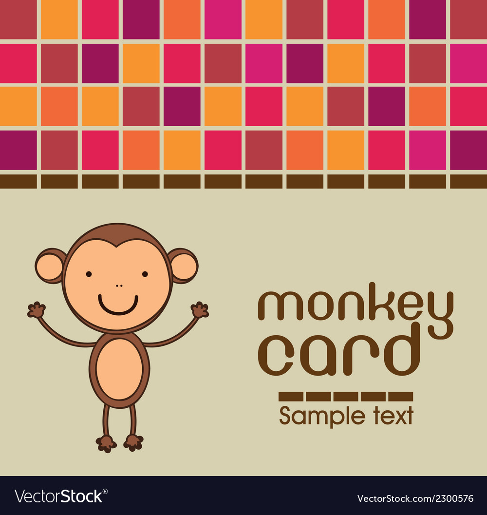 Cute monkey card vector image