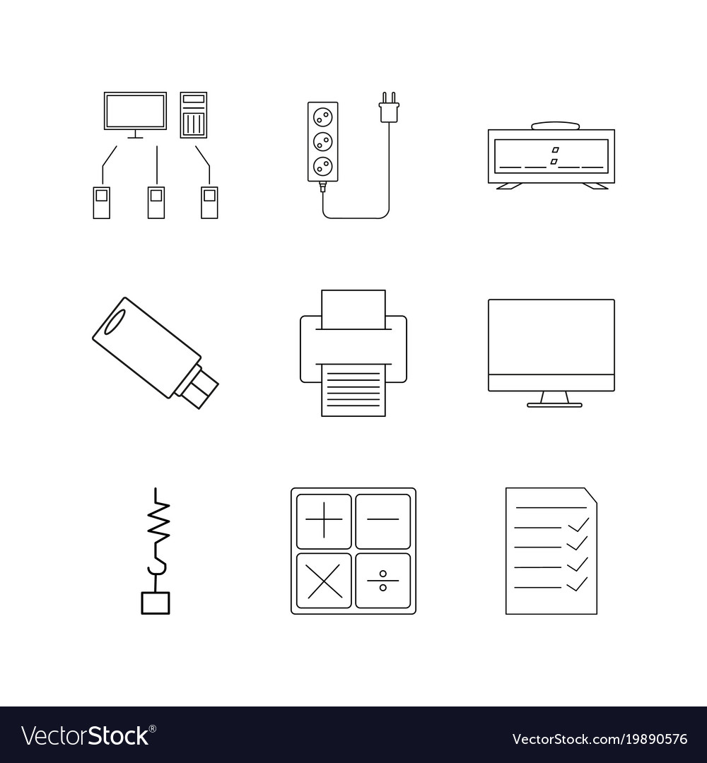 Devices linear icon set simple outline icons