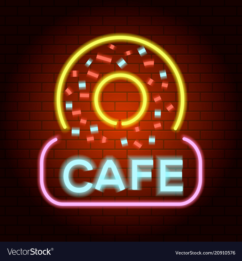 Donut cafe logo neon light icon realistic style