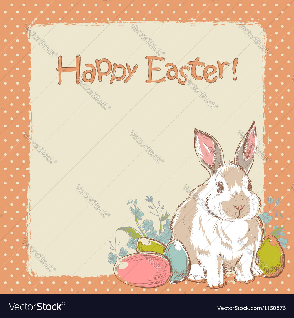 Easter bunny retro card with hand drawn flowers