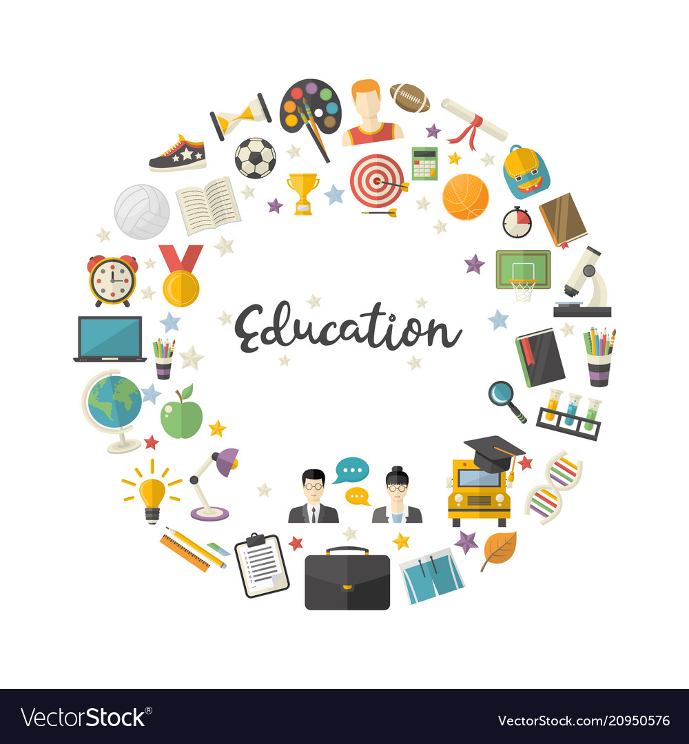 Education icon set in circle in flat style