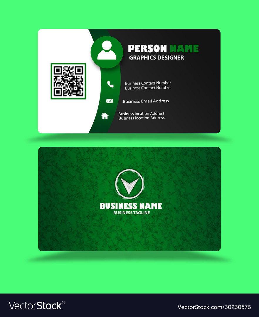 Green black business card visiting card template