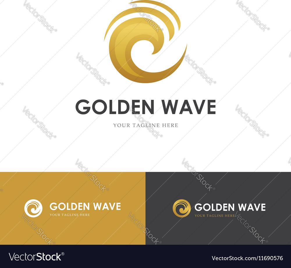Round golden wave logo vector image