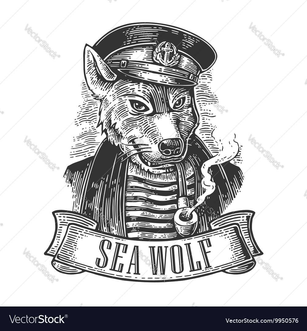 Sea wolf with pipe and ribbon