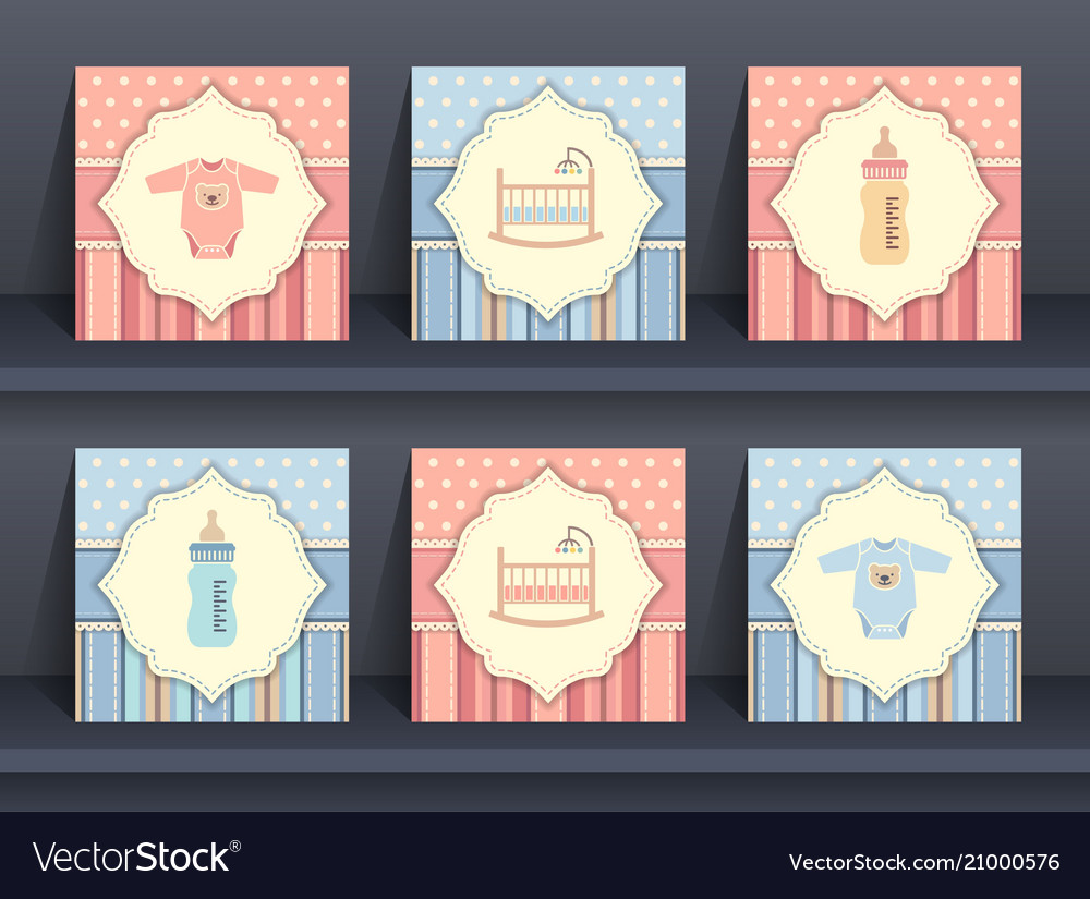 Set of baby invitation cards vector image