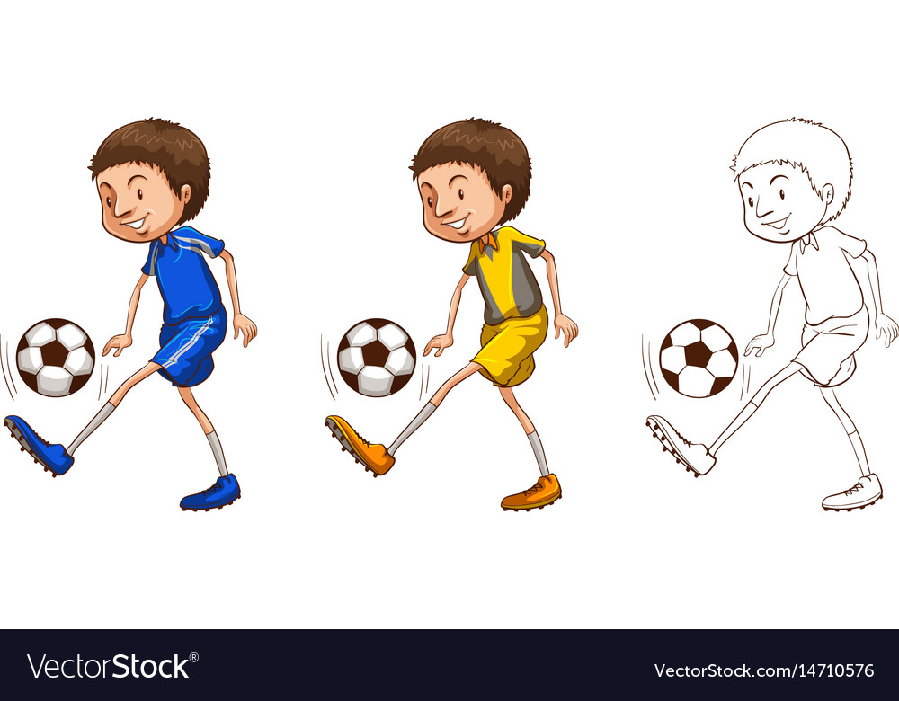 Soccer player in three sketches