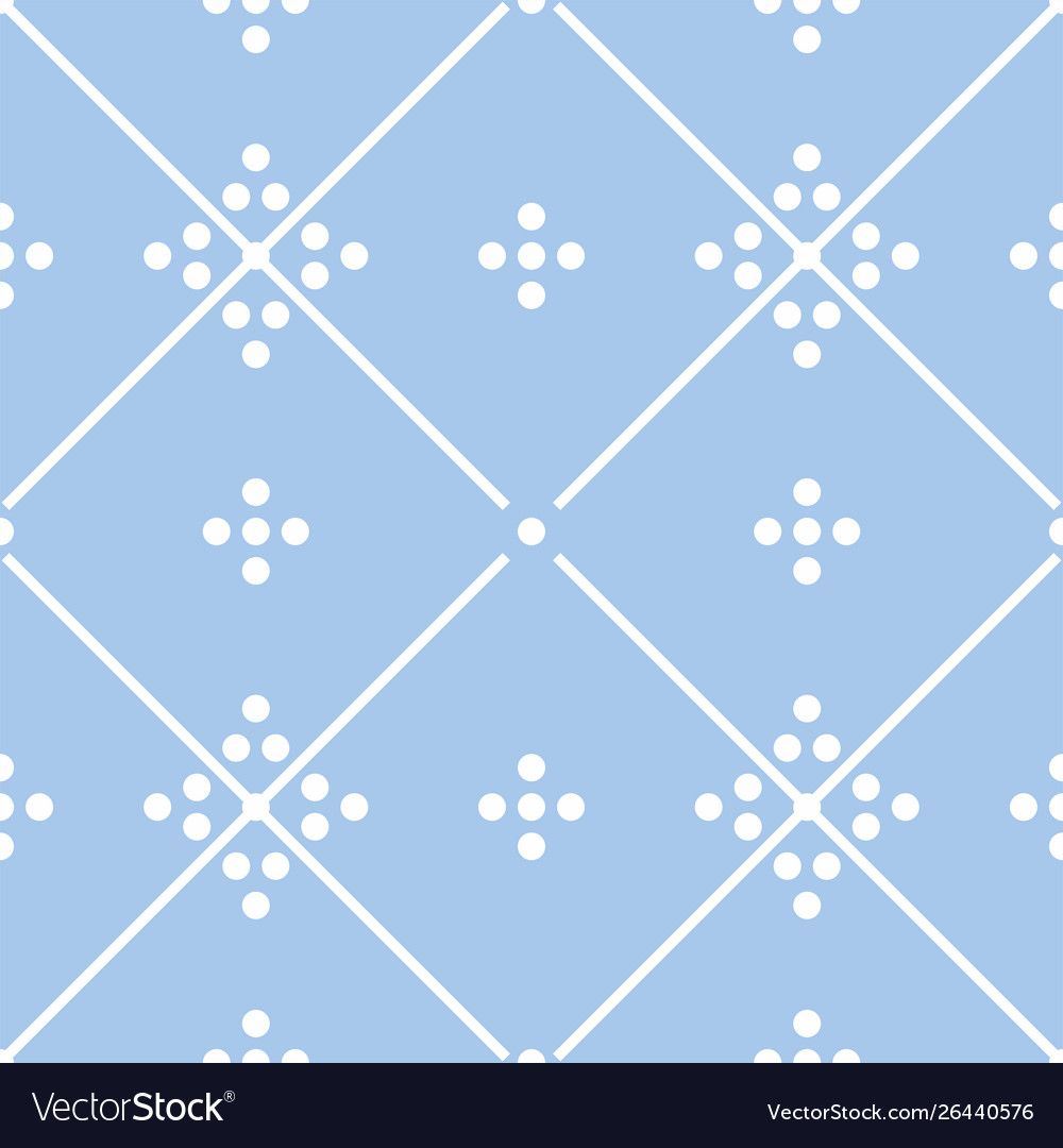 Tile pastel blue and white decorative floor tiles vector