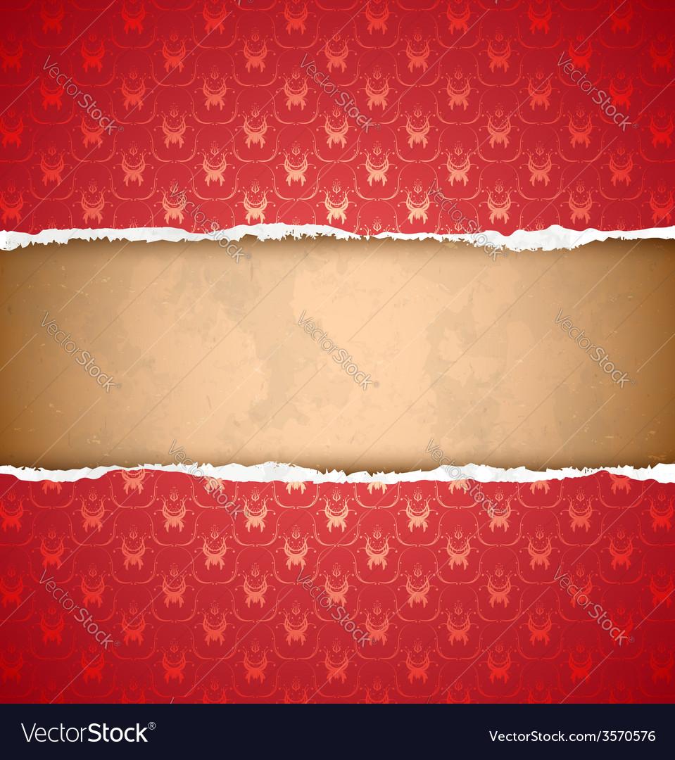 Torn red ornamental wallpaper vector image