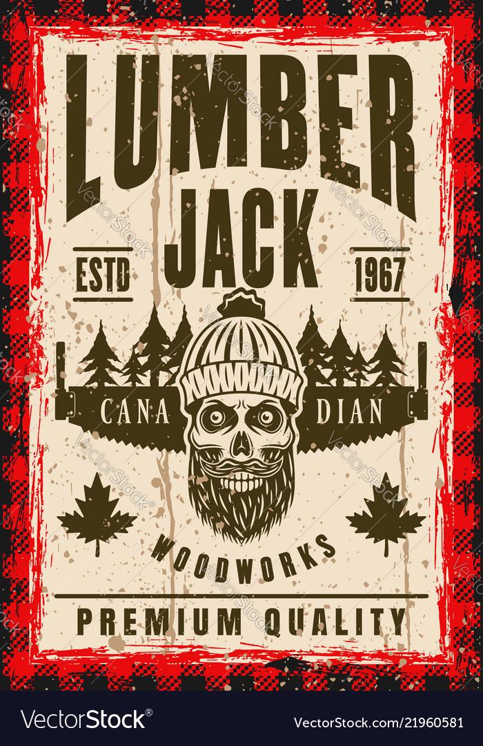 Bearded skull of lumberjack in hat poster