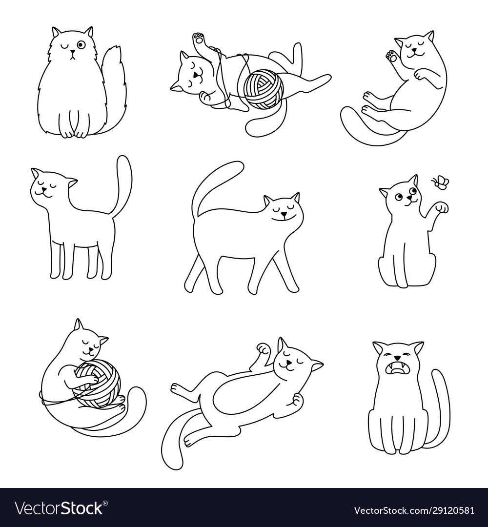 Cats line doodles
