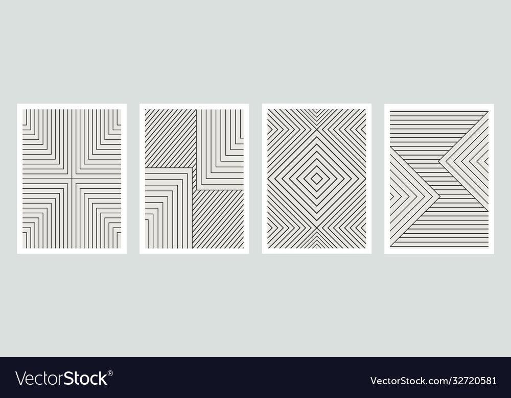 Geometric minimal prints set mid century modern