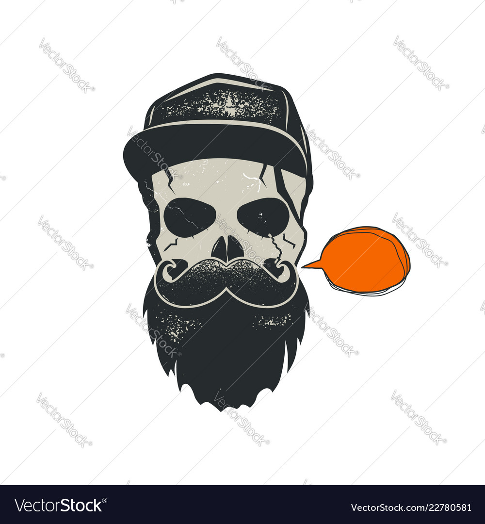 Grunge hipster skull emblem with quote bubble cap