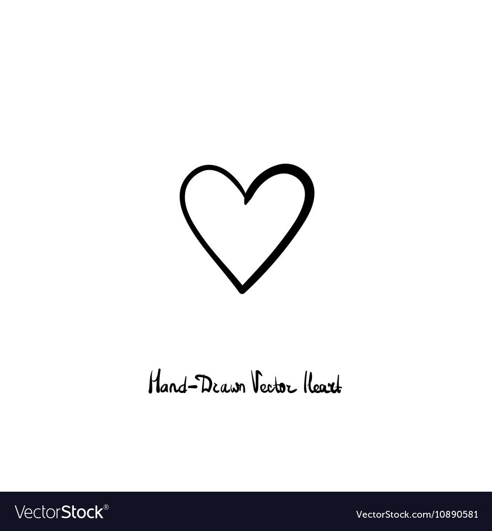 Hand-drawn heart icon Love relationships vector image