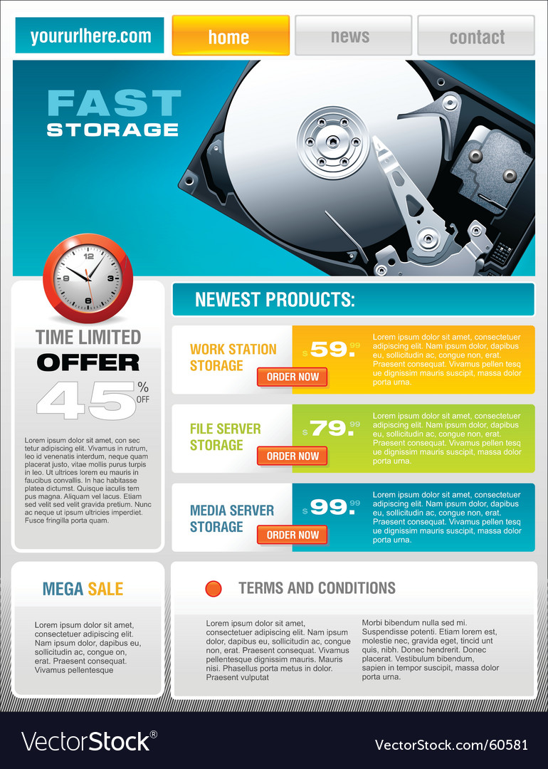 Promotional Brochure | Hard Disk Promotional Brochure Royalty Free Vector Image