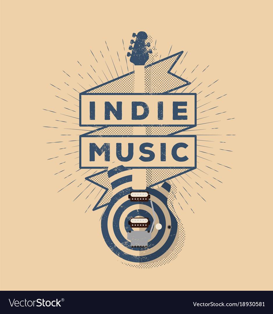 Indie rock music vintage styled badge