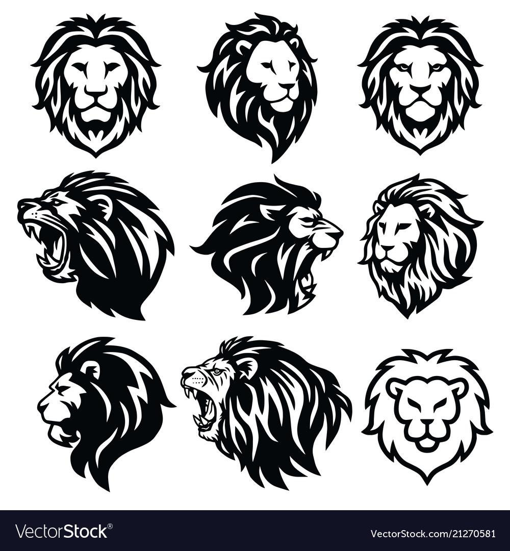 Lion logo set premium design collection