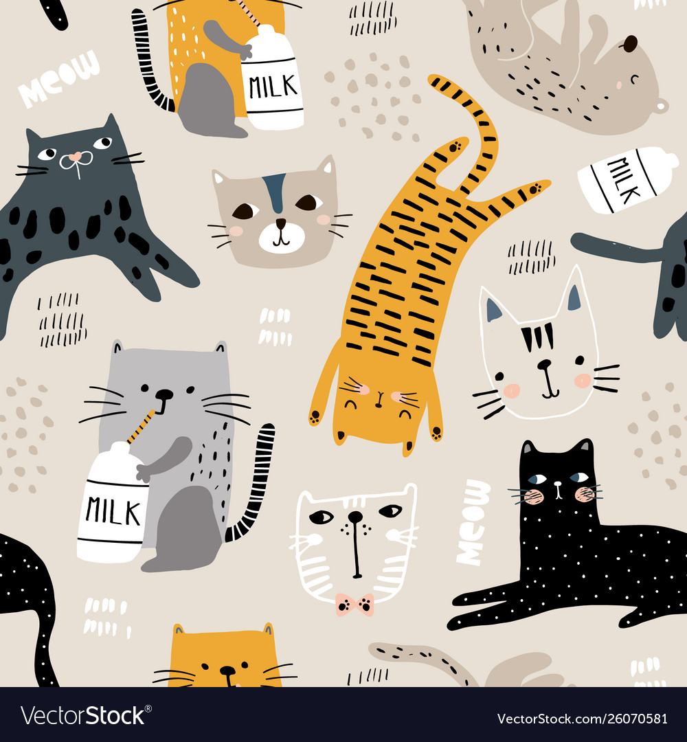 Seamless pattern with different funny cats and