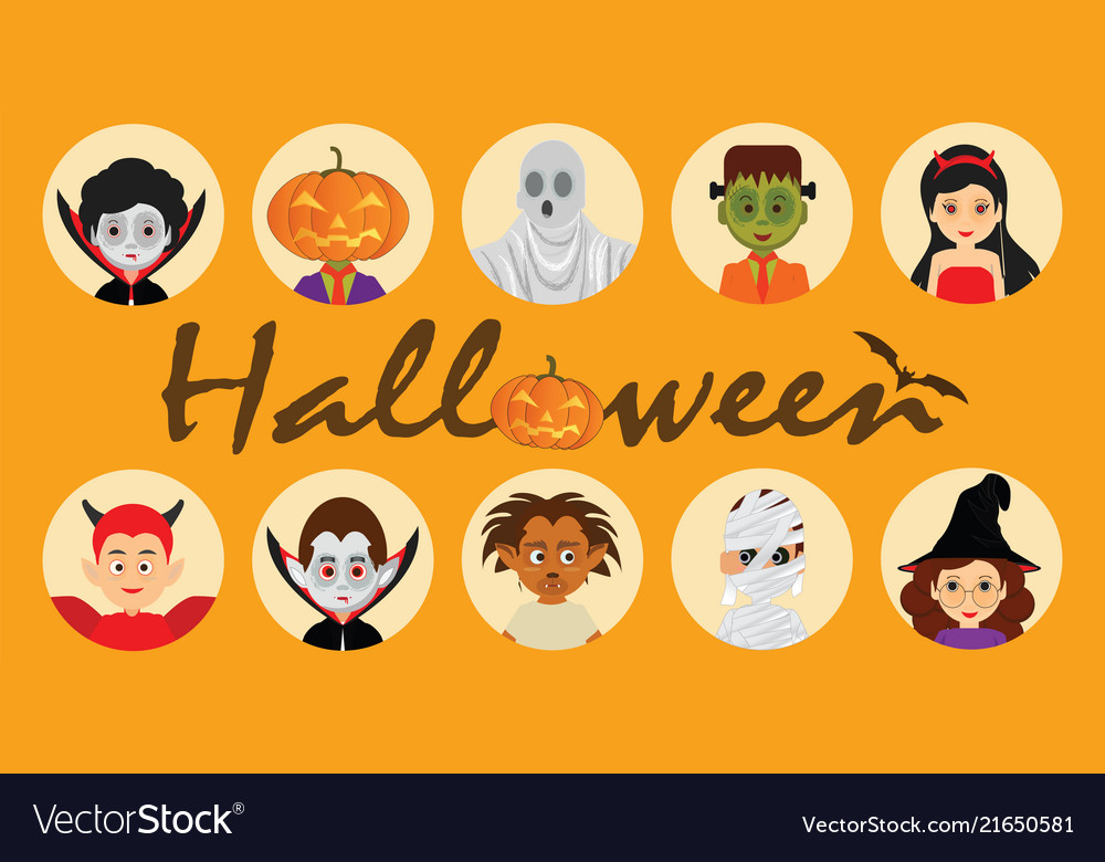 Set of halloween cartoon characters icons