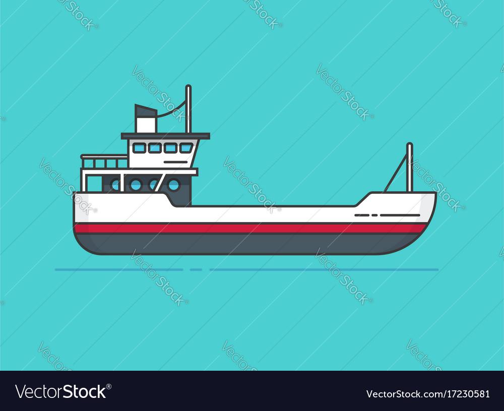 Ship line outline boat