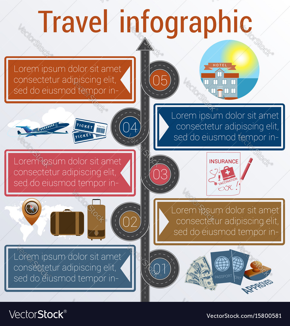 Travel infographic template 5 positions