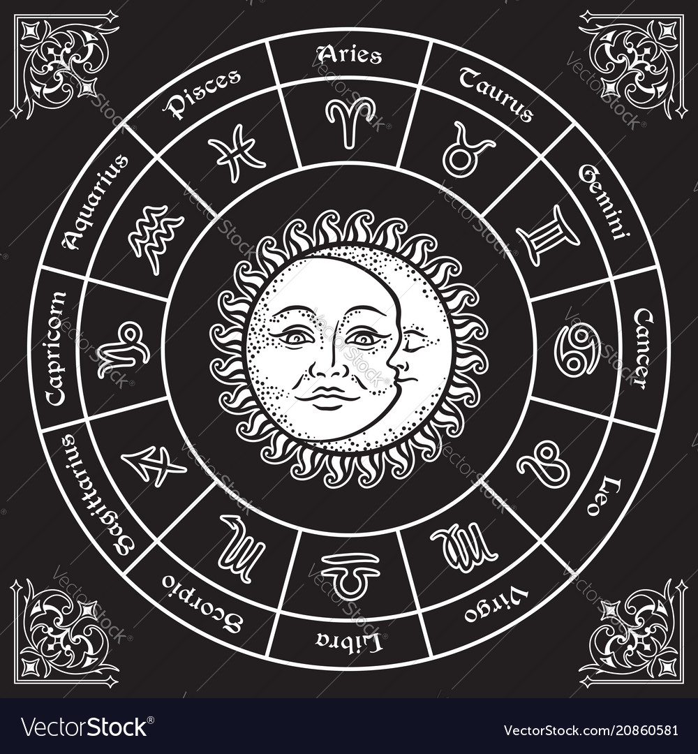 Zodiac circle with horoscope signs sun and moon