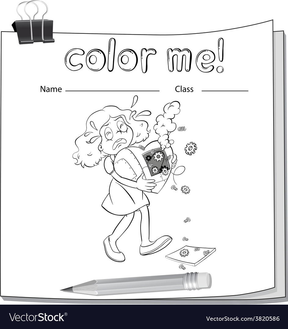 A worksheet with a young girl