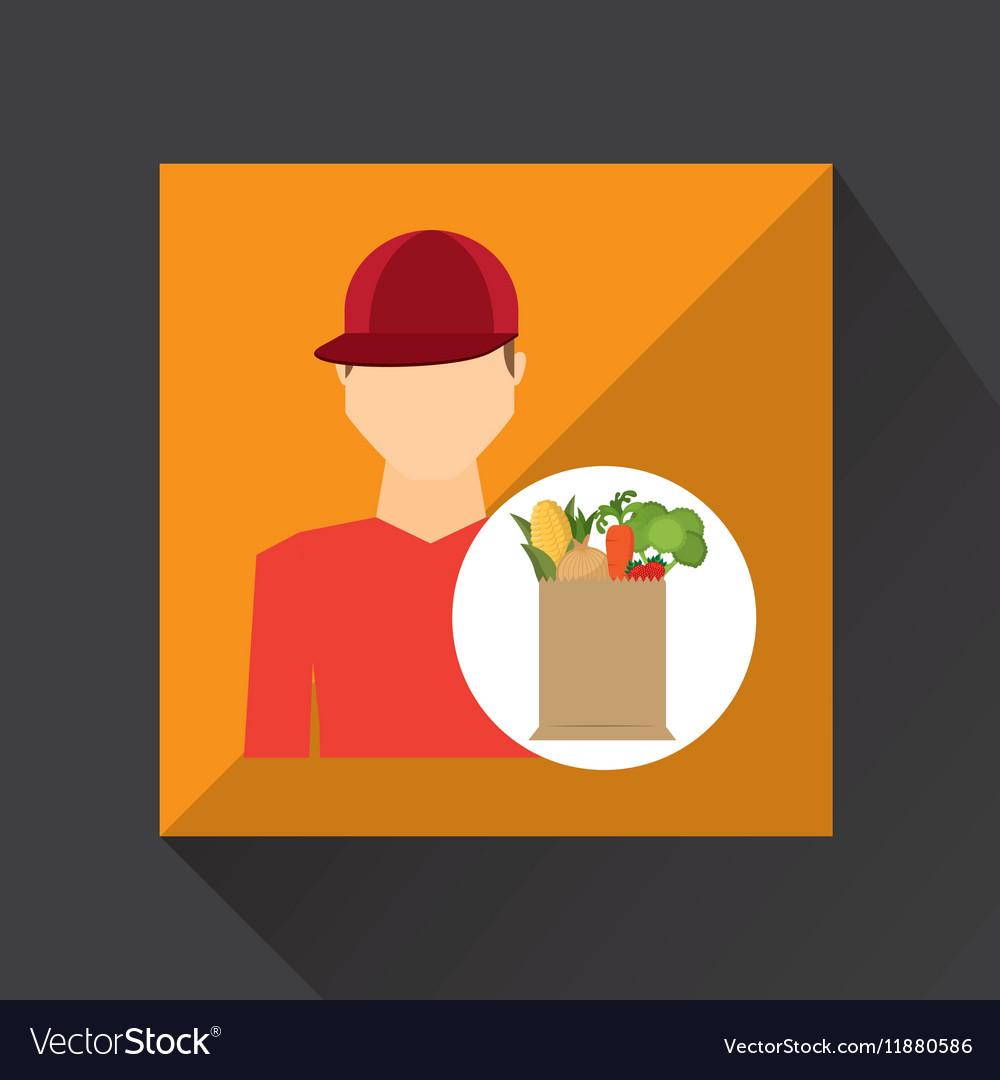 Cartoon man red cap with shop bag healthy food