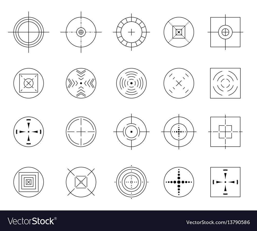 Collection flat simple targets isolated
