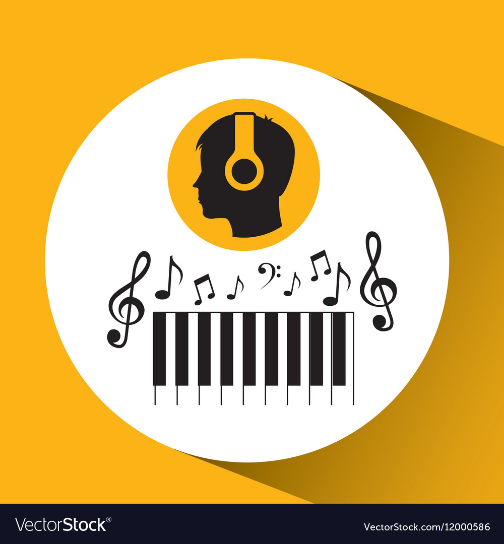 Head silhouette listening music piano vector image
