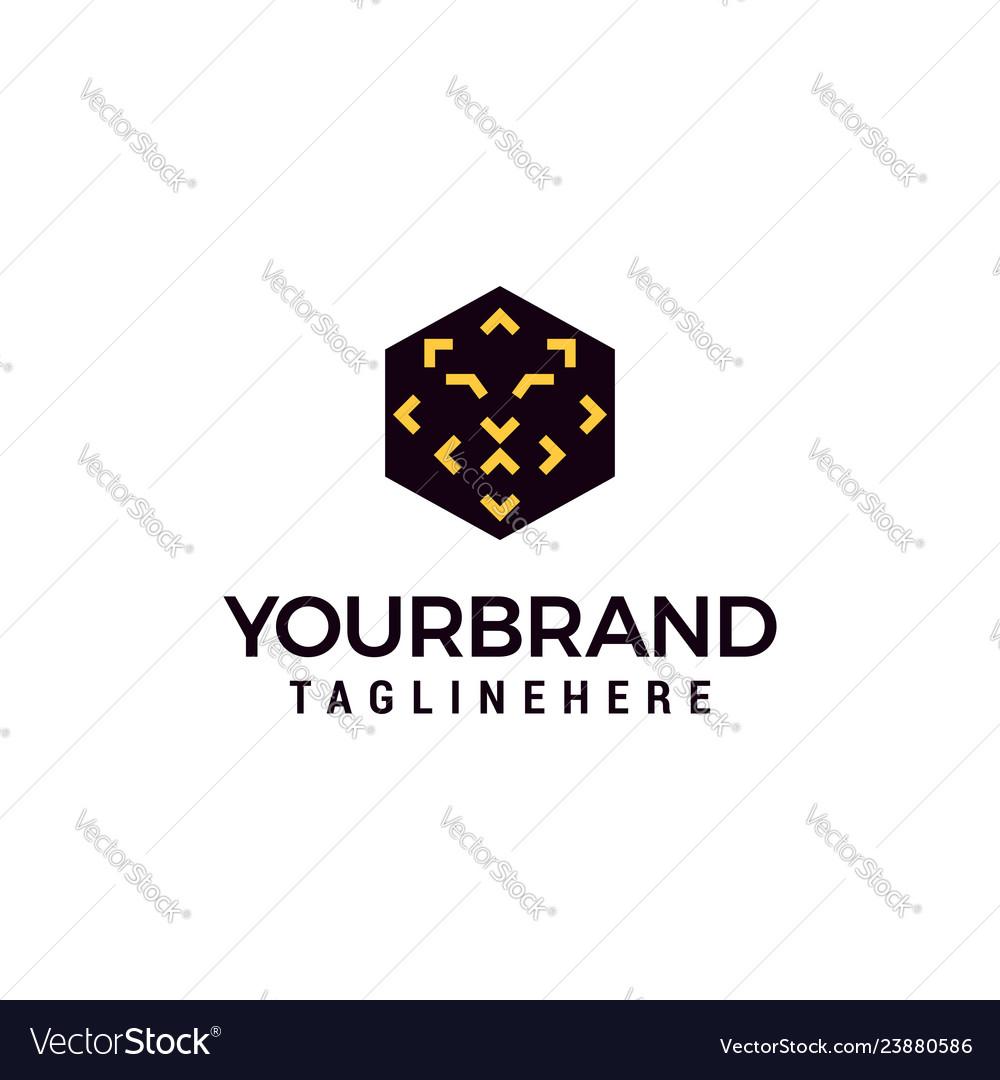 Hexagonal simple lion head logo template