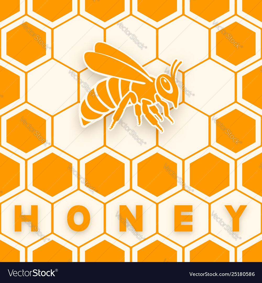 Honey bee sticker silhouette on honeycomb