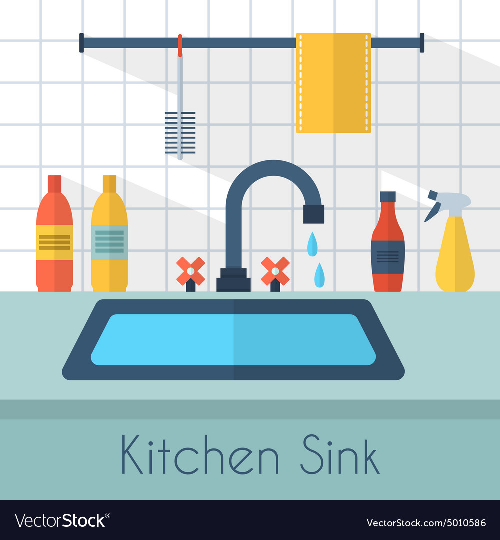 Kitchen sink with kitchenware Royalty Free Vector Image