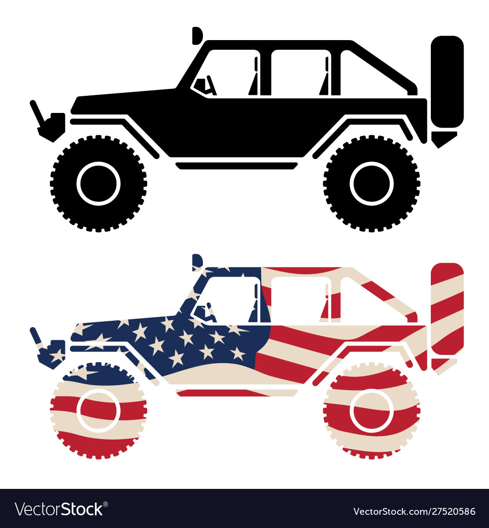 Off road 4x4 vehicle with usa flag and black