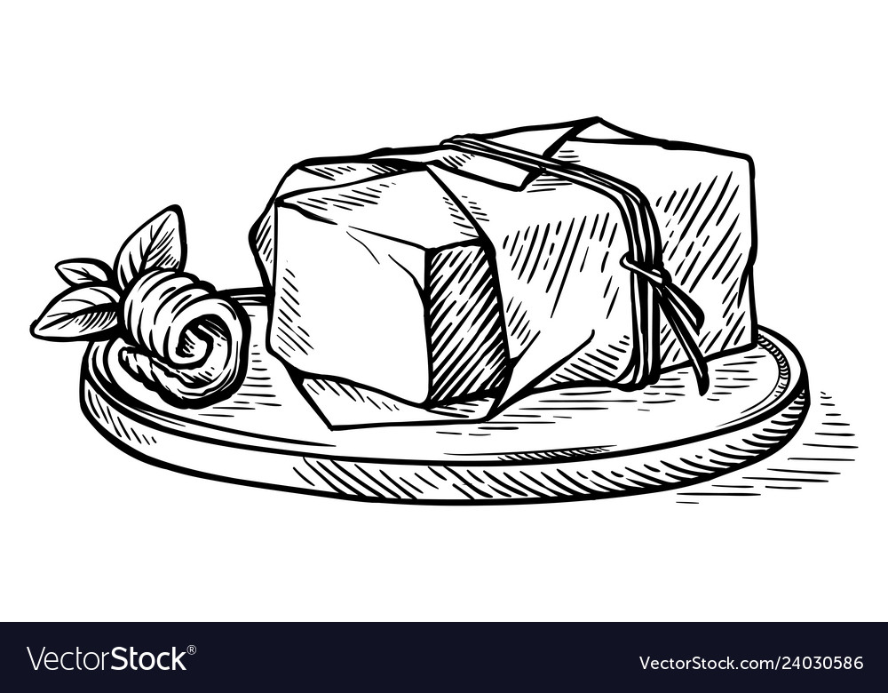 Sketch hand drawn piece of butter wrapped in a