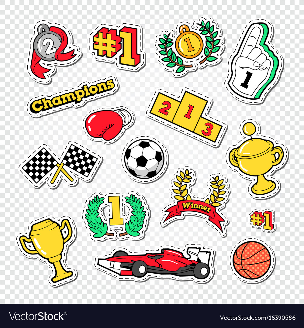 Sports success trophy winner stickers set vector image