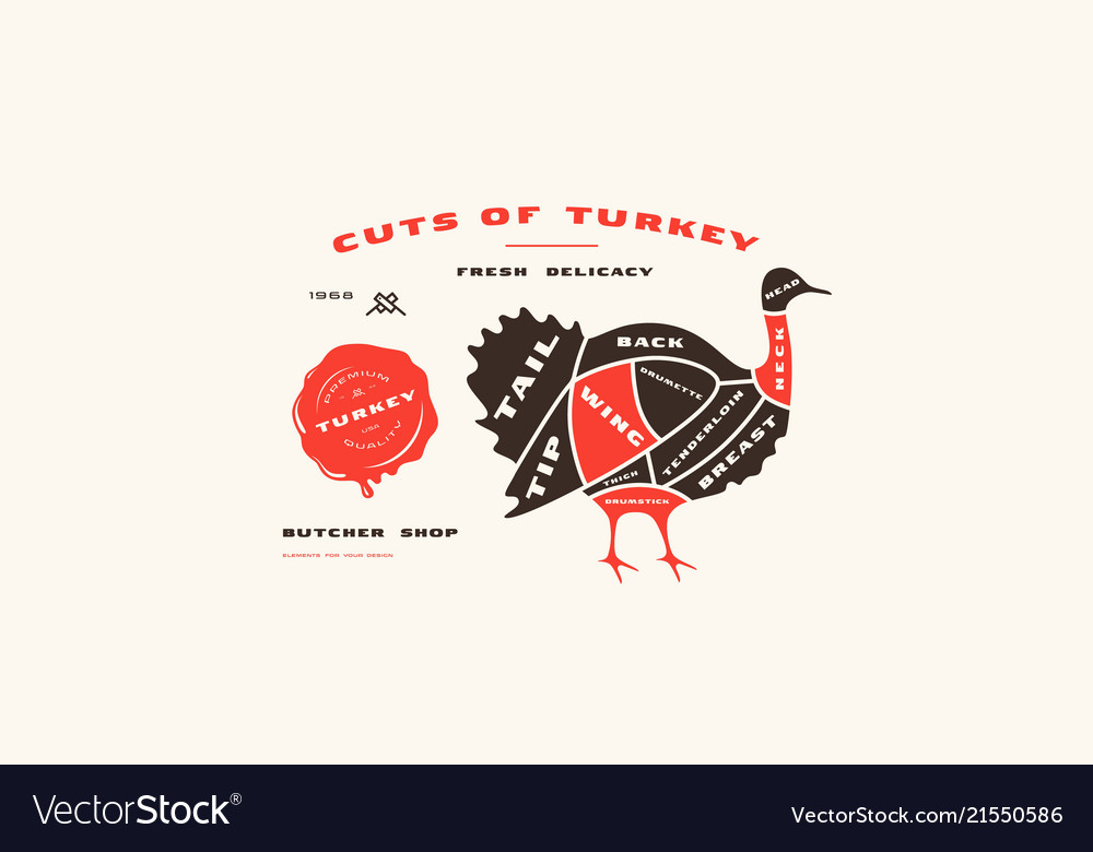 Stock turkey cuts diagram in flat style