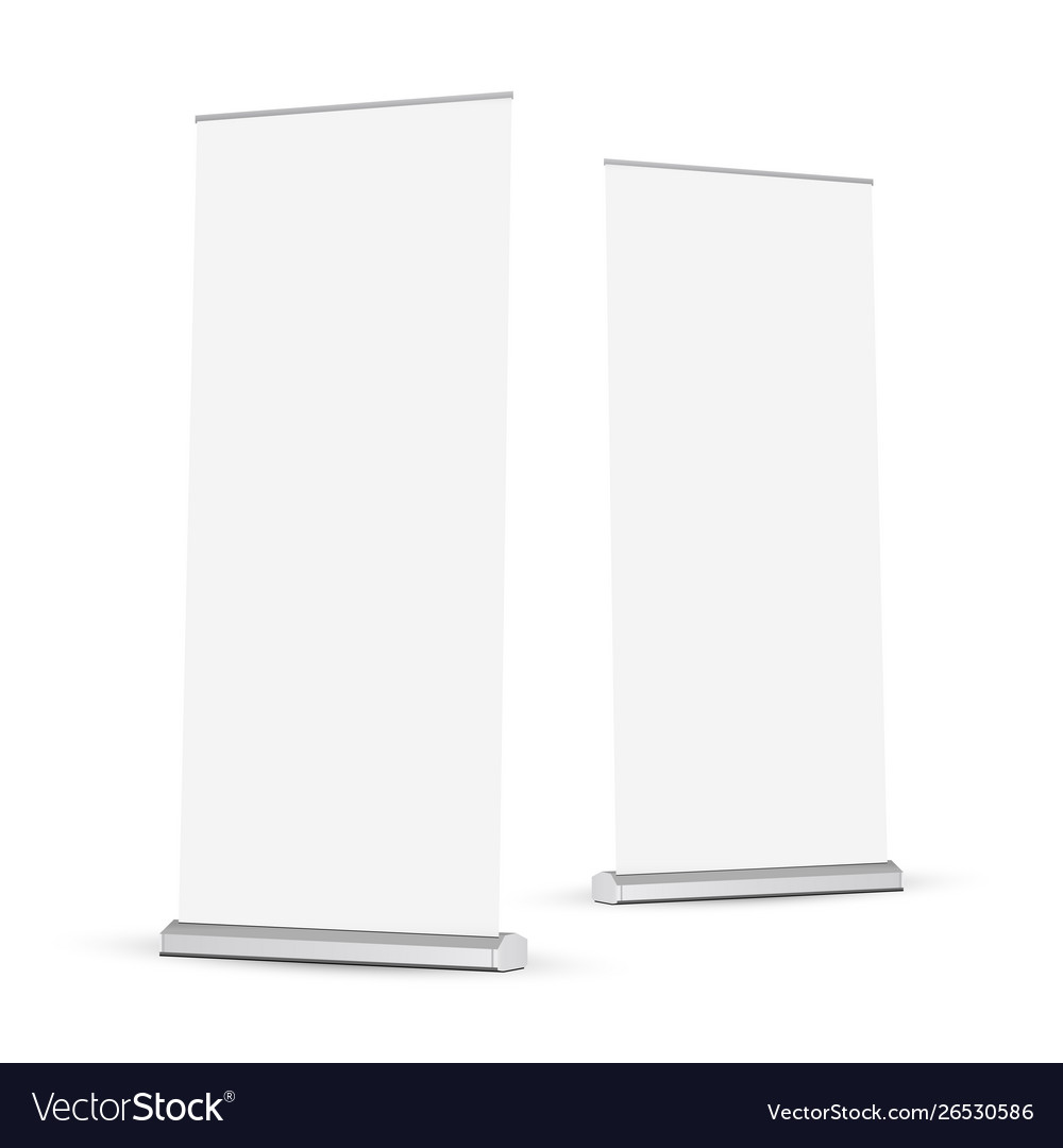 Two roll-up banners mockups isolated