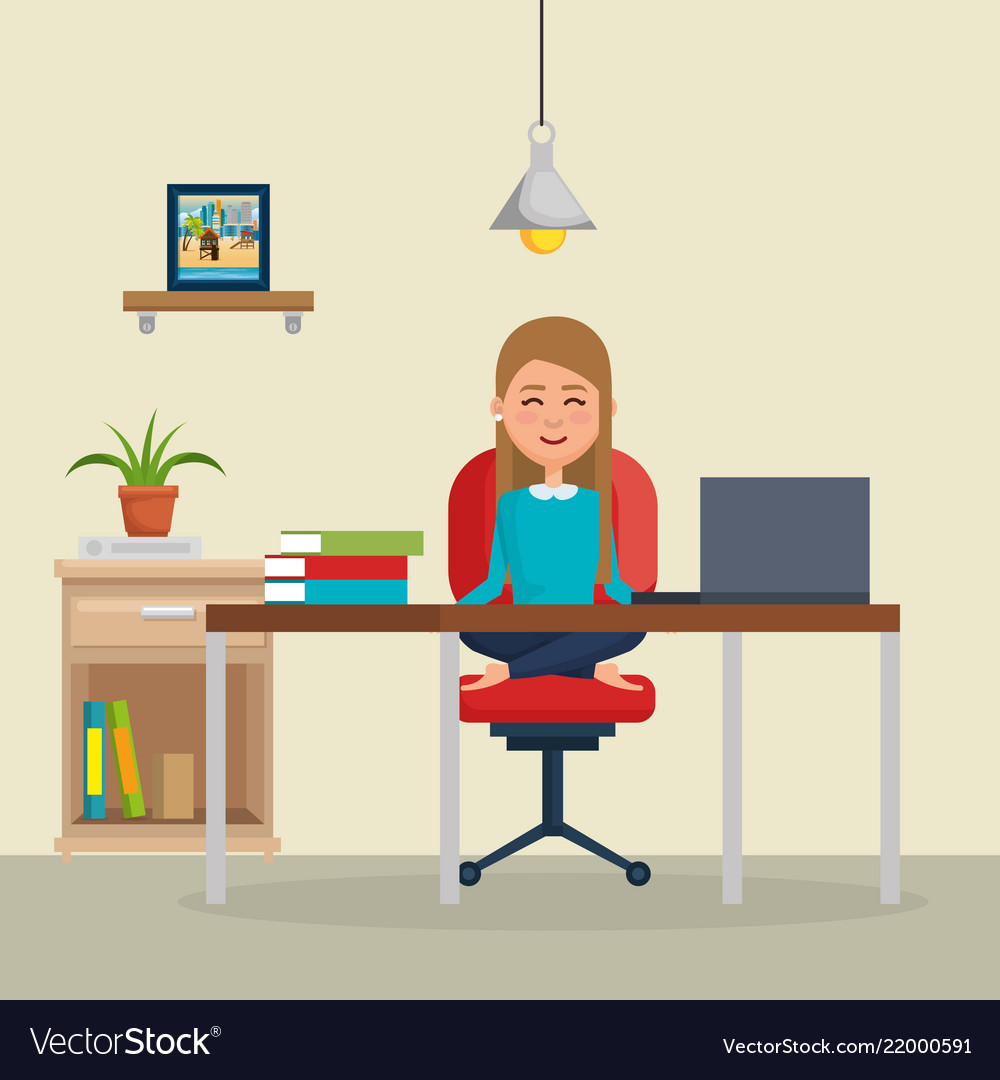 Business Woman Practicing Yoga In Office Chair Vector Image