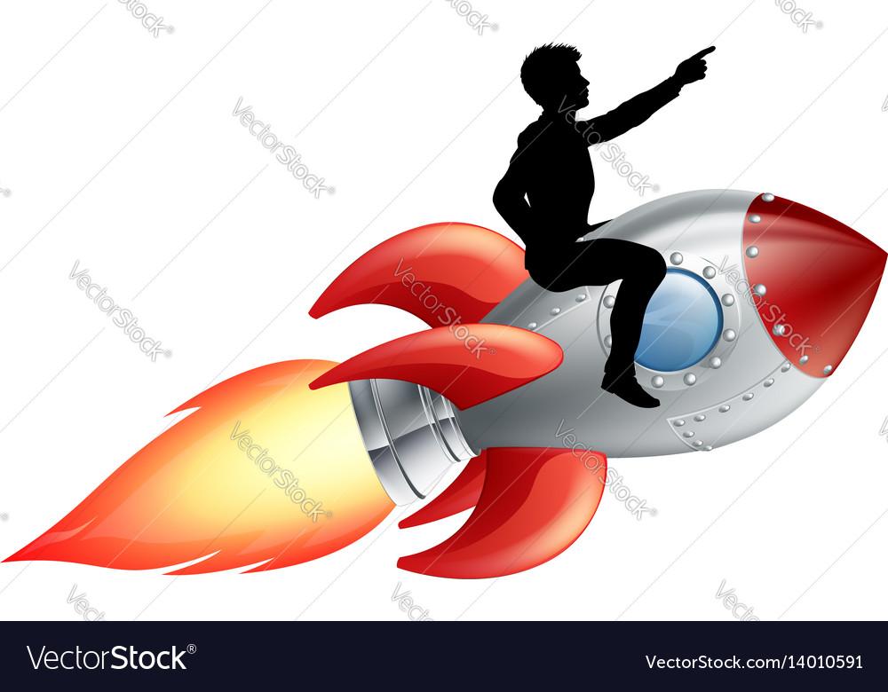 Businessman Riding Rocket Ship Royalty Free Vector Image