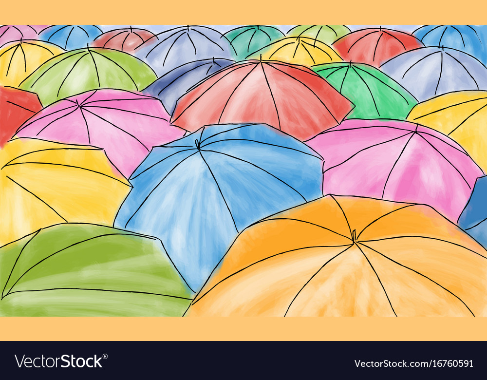 Colored umbrellas in the rain - pattern vector image