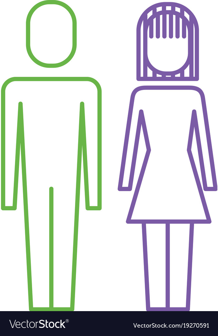 Couple business man and woman standing pictogram vector image