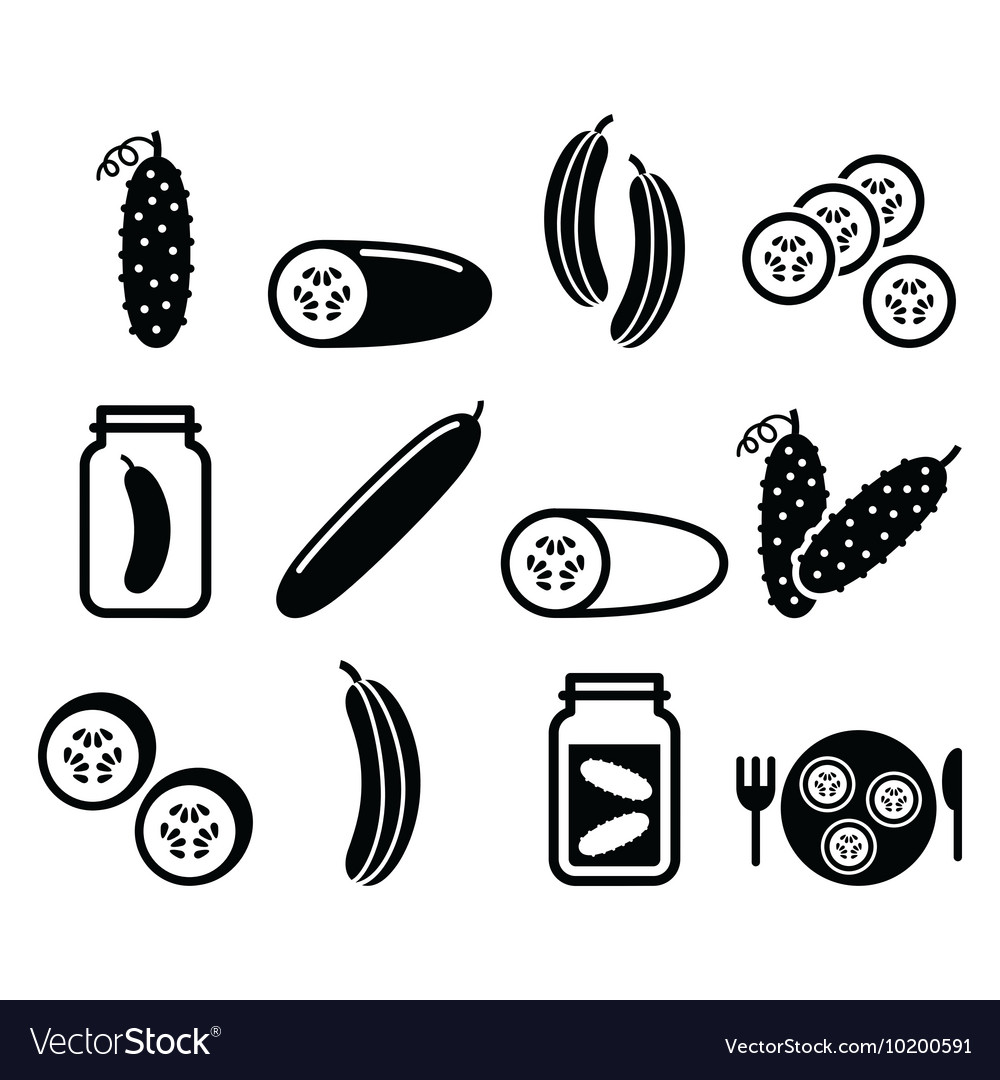 Cucumber pickled cucumber slices - food icons
